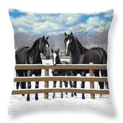 Black Quarter Horses In Snow Throw Pillow by Crista Forest