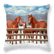Red Sorrel Quarter Horses In Snow Throw Pillow by Crista Forest