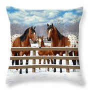 Bay Appaloosa Horses In Snow Throw Pillow by Crista Forest