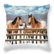Buckskin Appaloosa Horses In Snow Throw Pillow by Crista Forest