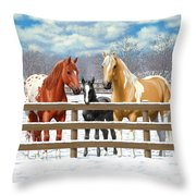 Chestnut Appaloosa Palomino Pinto Black Foal Horses In Snow Throw Pillow by Crista Forest
