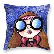 Galaxy Goggles Girl Throw Pillow