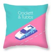 Miami Vice Crockett Tubbs - Aqua Throw Pillow