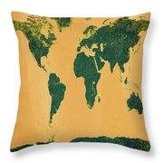 Big Abstract World Map  Throw Pillow