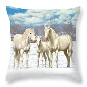 White Horses In Winter Pasture Throw Pillow