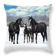 Black Horses In Winter Pasture Throw Pillow