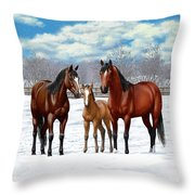 Bay Horses In Winter Pasture Throw Pillow by Crista Forest