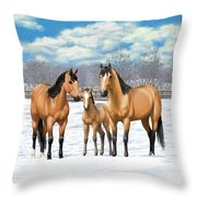 Buckskin Horses In Winter Pasture Throw Pillow