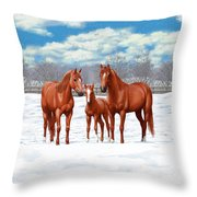 Chestnut Horses In Winter Pasture Throw Pillow by Crista Forest
