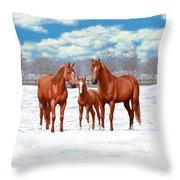 Chestnut Horses In Winter Pasture Throw Pillow