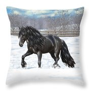 Black Friesian Horse In Snow Throw Pillow