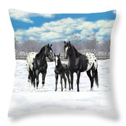Black Appaloosa Horses In Winter Pasture Throw Pillow