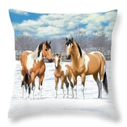 Buckskin Paint Horses In Winter Pasture Throw Pillow by Crista Forest
