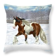 Bay Pinto Gypsy Vanner In Snow Throw Pillow