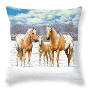 Palomino Appaloosa Horses In Winter Throw Pillow