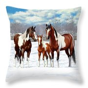 Bay Paint Horses In Winter Throw Pillow
