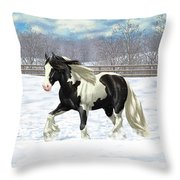 Black Pinto Gypsy Vanner In Snow Throw Pillow by Crista Forest