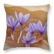 Saffron Flowers Throw Pillow