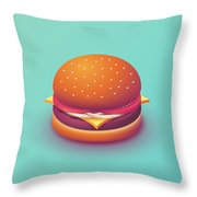 Burger Isometric - Plain Mint Throw Pillow