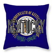 Flag Of Kentucky  Word Throw Pillow