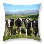 Curious Cows Throw Pillow by Ivana Westin