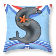 S Is For Seal And Starfish Throw Pillow