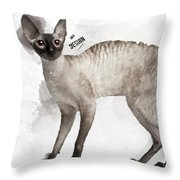 Cute Cornish Rex Youngster Throw Pillow