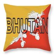 Flag Of Bhutan Word Throw Pillow