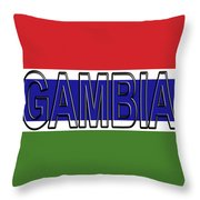 Flag Of The Gambia Word. Throw Pillow