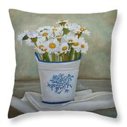 Daisies And Porcelain Throw Pillow by Angeles M Pomata