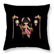 Kawaii China Doll Scene Throw Pillow