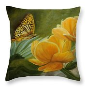 Butterfly Among Yellow Flowers Throw Pillow