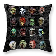 16 Horror Movie Monsters Vintage Style Classic Horror Movies  Throw Pillow