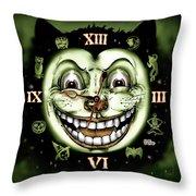 Black Cat 13 Halloween Clock Throw Pillow