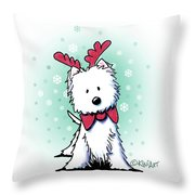 Kiniart Westie Reindeer Throw Pillow