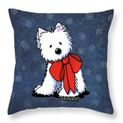 Kiniart Westie In Red Bow Throw Pillow