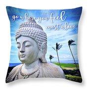 Go Where You Feel Most Alive Hawaiian White Buddha Throw Pillow