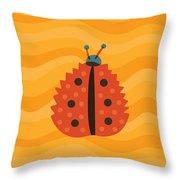 Orange Ladybug Masked As Autumn Leaf Throw Pillow