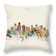 Charlotte City Skyline Throw Pillow