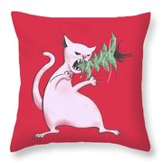 Funny White Cat Eats Christmas Tree Throw Pillow