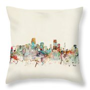 Miami Florida City Skyline Throw Pillow