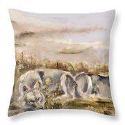 Totem Wolf Sunset Throw Pillow