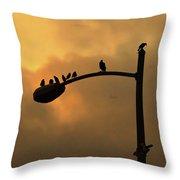Birds On A Post Amber Light Detail Throw Pillow