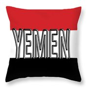 Flag Of The Yemen Word Throw Pillow