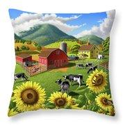 Sunflowers Cows Appalachian Farm Landscape - Rural Americana - Farm Animals - 1950 Farm Life - Barn Throw Pillow