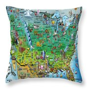 United States Of America Fun Map Throw Pillow by Kevin Middleton