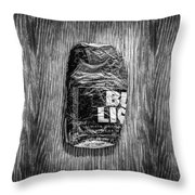Crushed Blue Beer Can On Plywood 78 In Bw Throw Pillow
