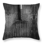 Ensilage Fork Up On Plywood In Bw 66 Throw Pillow