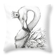Flamingo In Pearl Necklace Throw Pillow