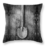 Short Handled Shovel On Plywood 72 In Bw Throw Pillow
